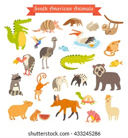 Sourth America animals illustration. Sourth American mammals. Big set. Isolated on white background. Sourth America animals cartoon style. Preschool, baby, continents, travelling, drawn. Animals icon