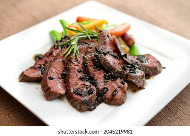 Sous Vide Flat Iron Steak with Rosemary and Balsamic Sauce