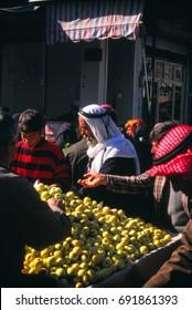 SOUSIA, SYRIA - NOV 8, 1996 - Woman at vegetable market in Sousia, Syria