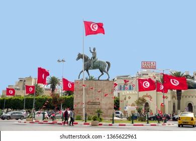 SOUSSE, TUNISIA - APRIL 9: The square with the monument to Habib Bourguiba near the Medina of Sousse, Tunisia on April 8, 2018.