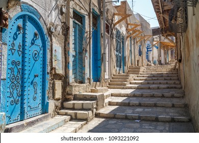 SOUSSE / TUNISIA - JUNE 2015: Typical street inside the medieval Sousse medina, Tunisia