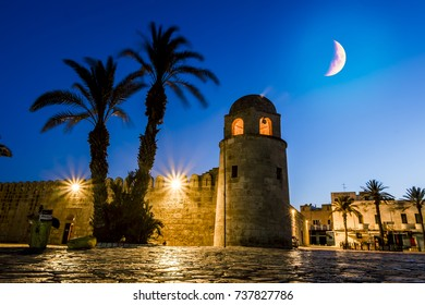 Sousse.Tunisia.May 29, 2017. the old town of Sousse Medina in the moonlight night in the month of Ramadan