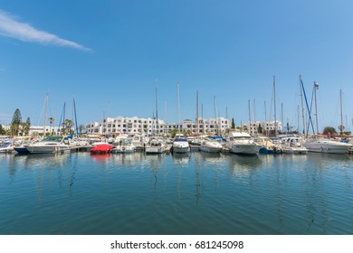 SOUSSE,TUNISIA - March 5, 2017:Boats and yachts in port El Kantaoui. Mediterranean Sea.