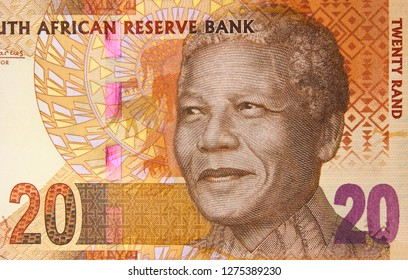 South Africa 20 rand banknote, Nelson Mandela. South African money currency close up. Africa economy.