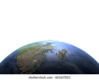 South Africa. 3D illustration with detailed planet surface and visible city lights. Lot of space left blank for your copy. Elements of this image furnished by NASA.