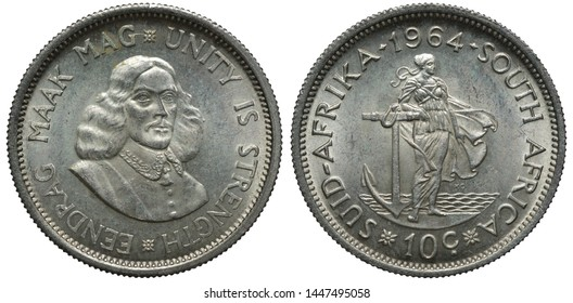 South Africa African silver coin 10 ten cents 1964, bust of Jan van Riebeeck , woman leaning on anchor, sea behind,