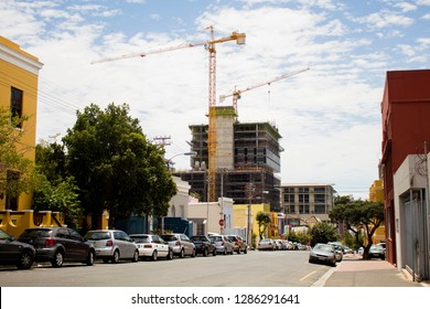 South Africa, Cape Town - 11 January, 2019: The crane on construction work in the Bo-Kaap, the Cape Malay Quarter. The heritage site is under threat. The famous tourist attraction in the Cape Town.
