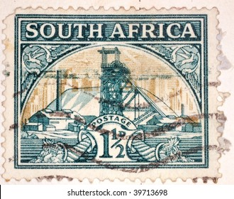 SOUTH AFRICA - CIRCA 1949: A stamp printed in South Africa shows image of a mine, series, circa 1949
