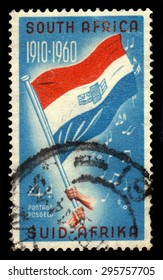 South Africa - CIRCA 1960: a stamp printed in the South Africa shows old South African flag and and national anthem sheet music, 50 years Union of South Africa, circa 1960