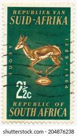 SOUTH AFRICA - CIRCA 1964: A stamp printed in South Africa shows Rugby Board Emblem, Springbok and Ball, circa 1964