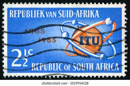 SOUTH AFRICA - CIRCA 1965: post stamp printed in South Africa shows ITU (International telecommunication union) emblem and satellites; Scott 306 A124 2 ½ c blue orange; circa 1965