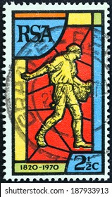 SOUTH AFRICA - CIRCA 1970: A stamp printed in South Africa issued for the 150th anniversary of Bible Society of South Africa shows the Sower, circa 1970.