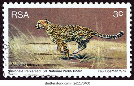 """SOUTH AFRICA - CIRCA 1976: A stamp printed in South Africa from the """"World Environment Day"""" issue shows Cheetah (Acinonyx jubatus), circa 1976."""