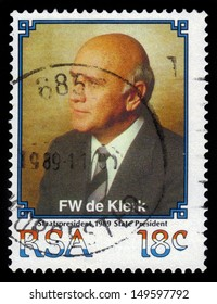 SOUTH AFRICA - CIRCA 1989: stamp printed by South Africa, shows Frederik Willem de Klerk,  was the seventh and last State President of apartheid-era South Africa, circa 1989