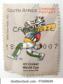 SOUTH AFRICA - CIRCA 2003: a stamp from South Africa celebrates the 2003 ICC World Cup, circa 2003