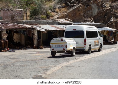 SOUTH AFRICA - CIRCA OCTOBER 2016: Safari truck parked by J.G. Strijdom Tunnel on the road between Johannesburg and Kruger Park