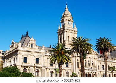 in south africa close up of the blur  city hall of cape town and clear sky