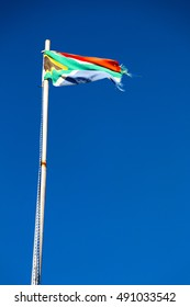 in south africa close up of the blur  national flag on pole