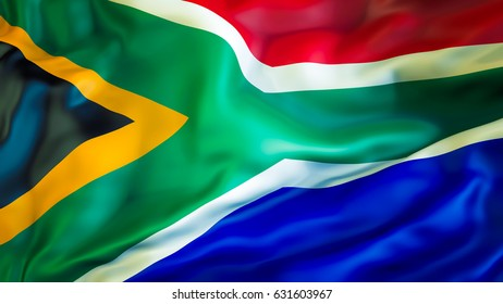 South Africa flag. 3D Waving flag design. Red, white, green and blue flag. South African flag colors background images. The national flags. National symbol of South Africa for background African sign