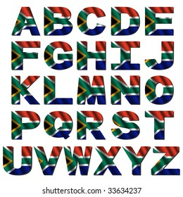 South Africa flag font isolated on white illustration