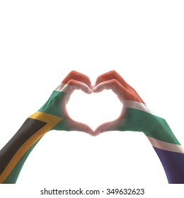 South Africa flag on woman hands in heart shape isolated on white background for national unity, union, love and reconciliation concept