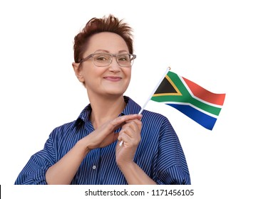 South Africa flag. Woman holding South Africa flag. Nice portrait of middle aged lady 40 50 years old with a national flag isolated on white background.