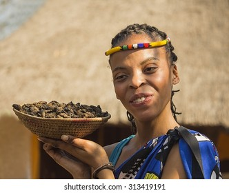 South Africa, Gauteng, Lesedi Cultural Village - 04 July, 2015. Woman Bantu nation serving eatable caterpillars for dinner. Girl showing basket of caterpillars in his palm. Delicious unusual food.