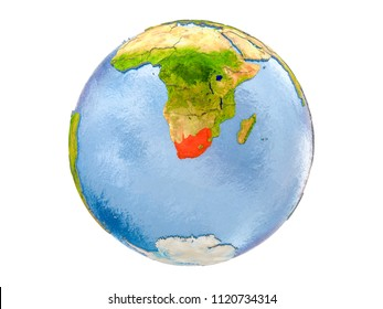 South Africa highlighted in red on model of Earth. 3D illustration isolated on white background. Elements of this image furnished by NASA.
