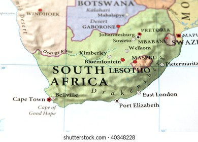 South Africa, home of the Soccer World Cup,  on map