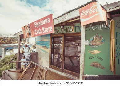 South Africa - January 30 2015: Tour around the Imizamu Yethu Township Houtbay near Cape Town