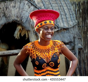 South Africa, Lesedi Cultural Village - 12 March, 2016. Typical clothing for married women presented by a young girl of Bantu nation.
