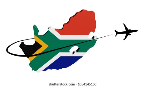 South Africa map flag with plane silhouette and swoosh 3d illustration