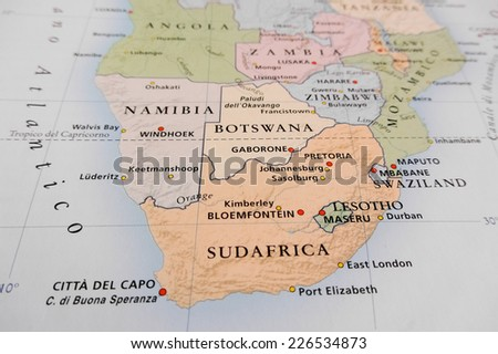 South Africa map (Geographical view altered on colors/perspective and focus on the edge. Names can be partial or incomplete)