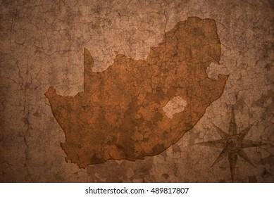 south africa map on a old vintage crack paper background