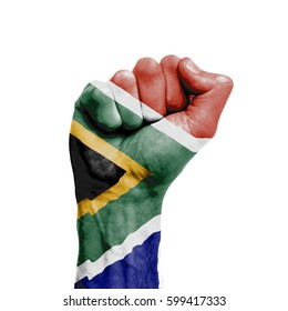 South africa national flag painted onto a male clenched fist. Strength, Power, Protest concept