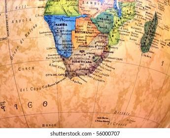 South Africa on globe.