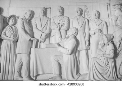 South Africa, Pretoria - 28 June, 2015: Voortrekker monument. Bas relief  in the Hall of Heroes.