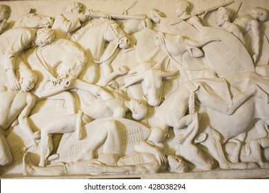 "South Africa, Pretoria - 28 June, 2015: Voortrekker monument. Bas relief  "" Battle against the Matebele at Kapain, 1837"" in the Hall of Heroes."