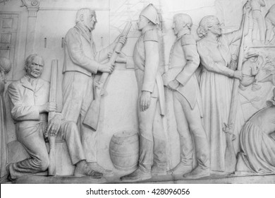 South Africa, Pretoria - 28 June, 2015: Voortrekker monument. Bas relief  in the Hall of Heroes.