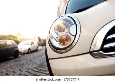 South Africa, Queenstown - August 20, 2016: Mini Cooper car bonnet with rain drops