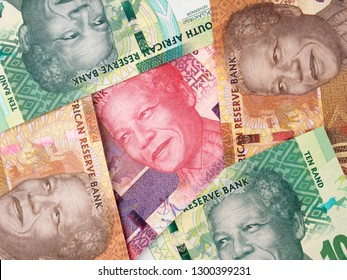South Africa rand banknotes. South African money currency background. Africa economy.