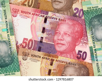 South Africa rand notes collection. South African money currency. Africa stock market.