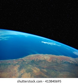 South Africa from space with stars above. Elements of this image furnished by NASA.