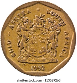 "South Africa Suid-Africa 50c Coin. South Africa coat of arms with the motto ""Ex Unitate Vires"" (Power Through Unity). Country name both in Afrikaans and English. Surrounding nonagon (Obverse)"