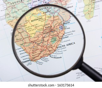South Africa under magnifier