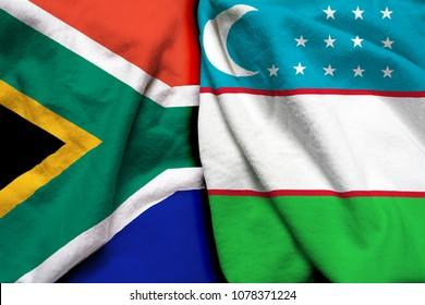 South Africa and Uzbekistan flag together