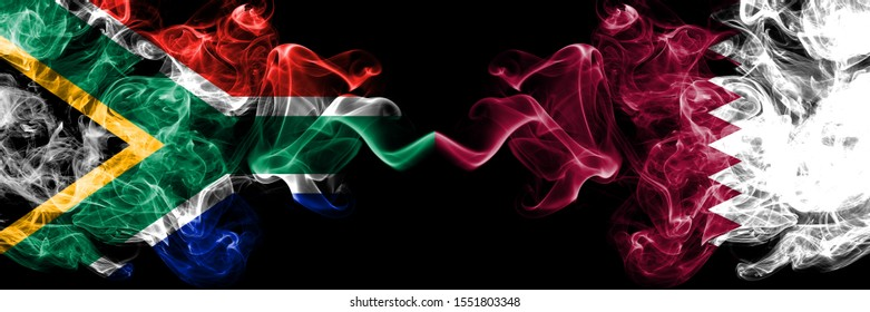 South Africa vs Qatar, Qatari smoky mystic flags placed side by side. Thick colored silky abstract smoke flags concept
