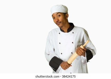 South African or American chef with rolling pin isolated on white