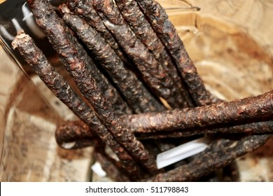 South African Biltong or Droewors beef sticks.