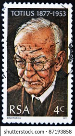 SOUTH AFRICAN - CIRCA 1977: A stamp printed in South African shows African poet Totius, circa 1977